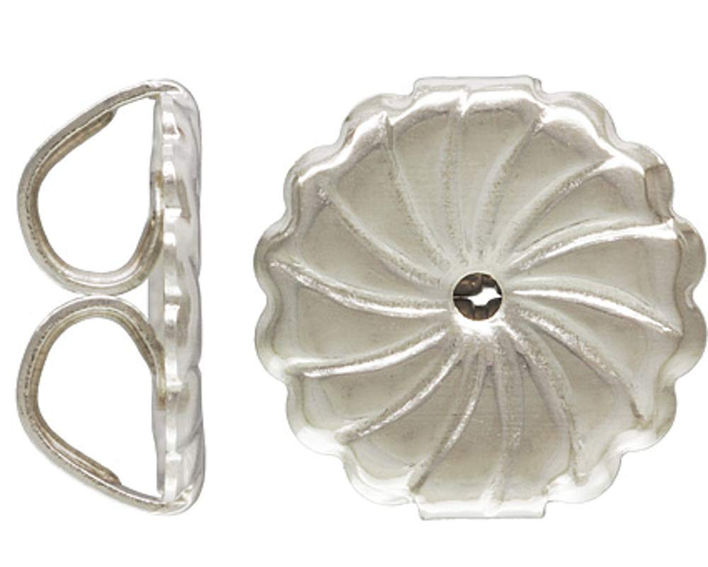 24 Qty by JensFindings Sterling Silver Large Premium Earring Backs Swirl.925 9.2x9.4mm Earnuts