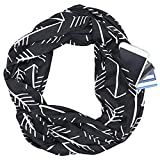 Infinity Scarves for Women, Arrow Pattern Infinity Scarf Lightweight Wrap Scarf with Zipper Pocket Travel Scarf (Black)