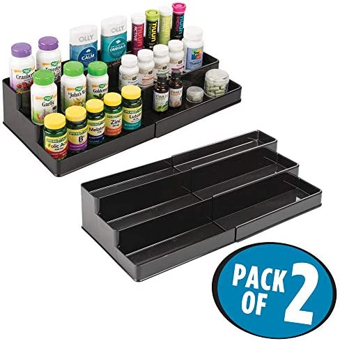 mDesign Adjustable, Expandable Plastic Vitamin Rack Storage Organizer Tray for Bathroom Vanity, Countertop, Cabinet – 3 Shelves – Holds Supplements, Medication – 2 Pack – Black