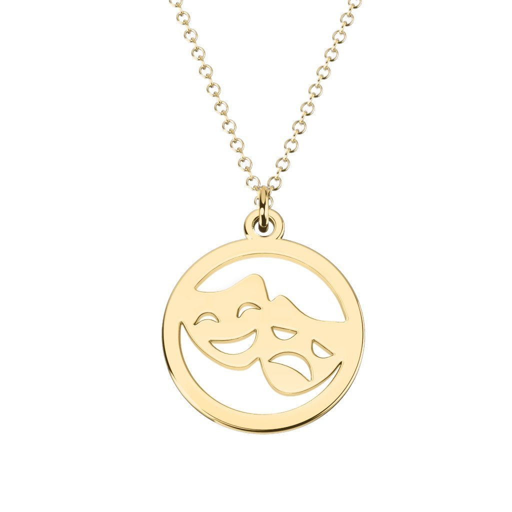10K Gold Theatre Mask Cutout Disc Necklace by JEWLR