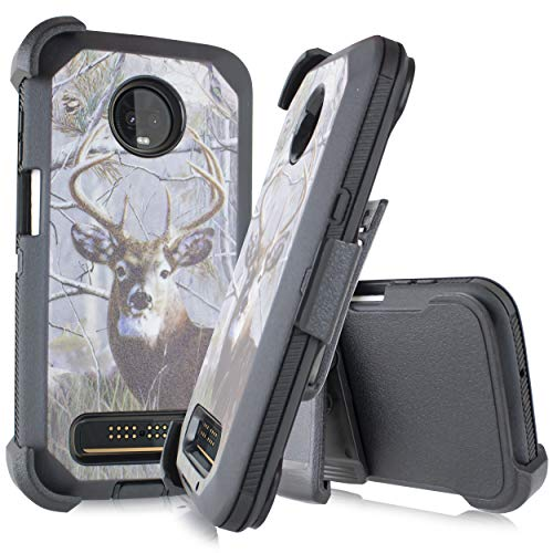 Compatible for Motorola Moto Z3 Play/Z Play 3rd Gen 2018 (XT1929) [Four Layered Protection] Heavy Duty Defender Holster Armor Camouflage Rugged Case + Built in Screen for Z3 Play (Big Buck)