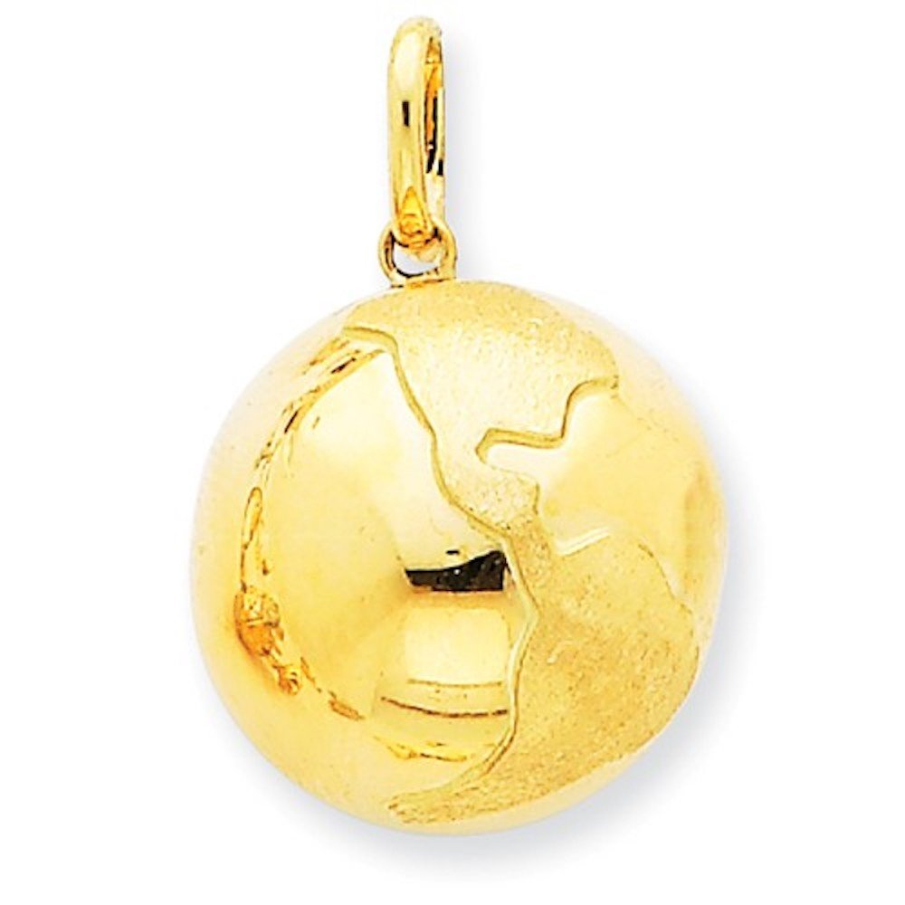 14k Yellow Gold Globe World Travel 3D Pendant Charm by CKL International
