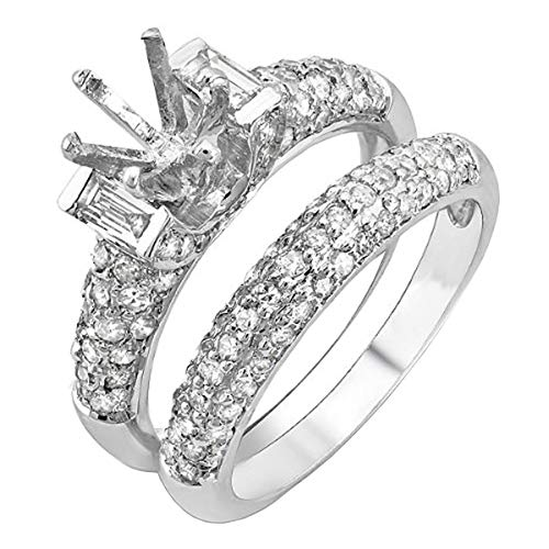 Dazzlingrock Collection 1.65 Carat (ctw) 14K Round & Baguette Diamond Semi Mount Engagement Ring Set, White Gold, Size 7
