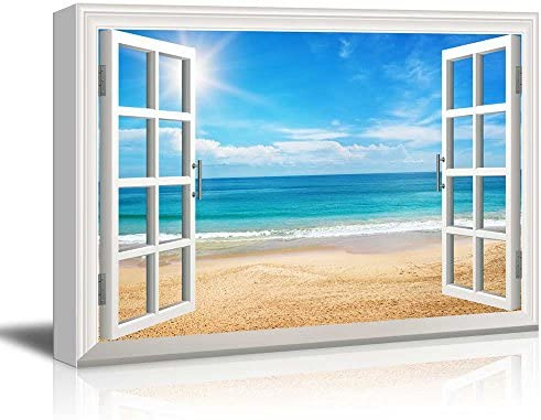 Print Window Frame Style Wall Decor Beach View on a Bright Sunny Day Stretched