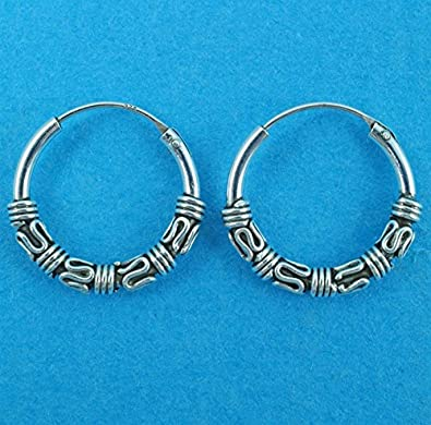 Bali Style Beaded Hoop Earrings - 925 Sterling Silver Hoops Celtic - Supplied in Free Gift Box or Gift Bag Ho2LaBh1