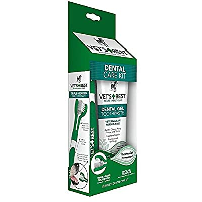 Vet's Best Dog Enzymatic Toothpaste and Toothbrush Plaque and Tartar Fighter Dental Care Kit Made in USA