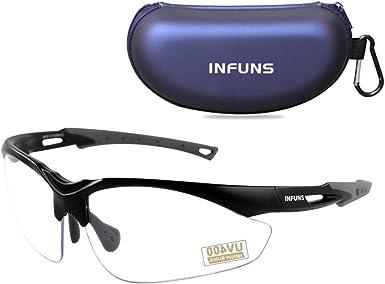 Gafas de Seguridad antivaho Transparentes con Estuche, UV 400, Lentes de Lentes Resistentes a los arañazos y protección contra rangos de Tiro: Amazon.es: Ropa y accesorios