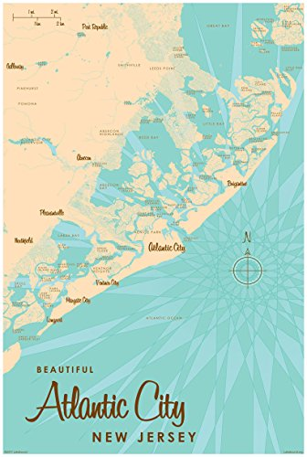 Atlantic City New Jersey Map Vintage-Style Art Print by Lakebound (24