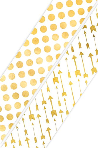 Renewing Minds Glimmer of Gold Arrows and Dots Wide Double-Sided Border Trim, Gold/White, Pack of Twelve 38 inch Strips
