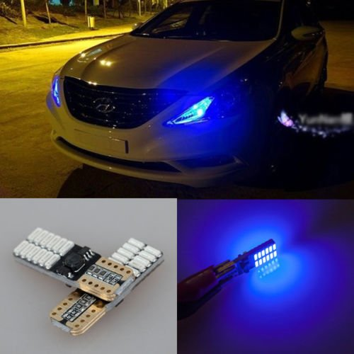GFJMC 2-Piece T10 24-SMD 3014 Blue LED Bulb for W5W 194 168 2825 Car Side Wedge Light with Canbus (2 Piece T10 Bulbs)