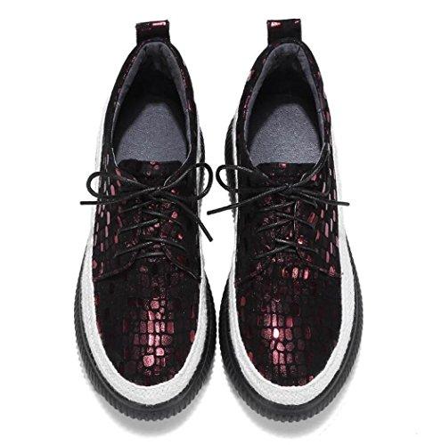 à Cuir Semelles Femmes En épaisses Chaussures Compensées Souliers MUYII Lacets à WineRed Semelles Simples Tqx8nXH