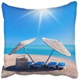 Throw Pillow Cover Square 18x18 Inches Blue Beautiful Beach Shelter Summer Sea Cloudscape Coast Couch Cove Extreme Hawaii Heat Polyester Decor Hidden Zipper Print On Pillowcases