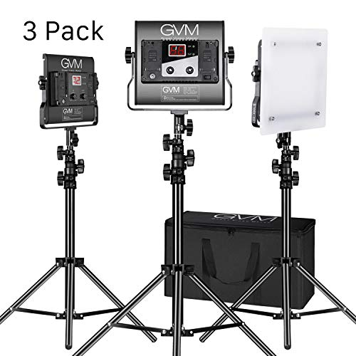 GVM Led Video Lighting Kit,3pack with Digital Screen 2300K~6800K high Brightness with Stand Dimmable Bi-Color Video Lighting CRI97+ TLCI97 Led Light Panel for YouTube Studio Photography Video Shooting