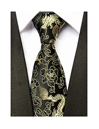 Shirt Silk Dragon (Black Gold Jacquard Woven Silk Ties Formal Neckties Best Present Gifts for Mens)