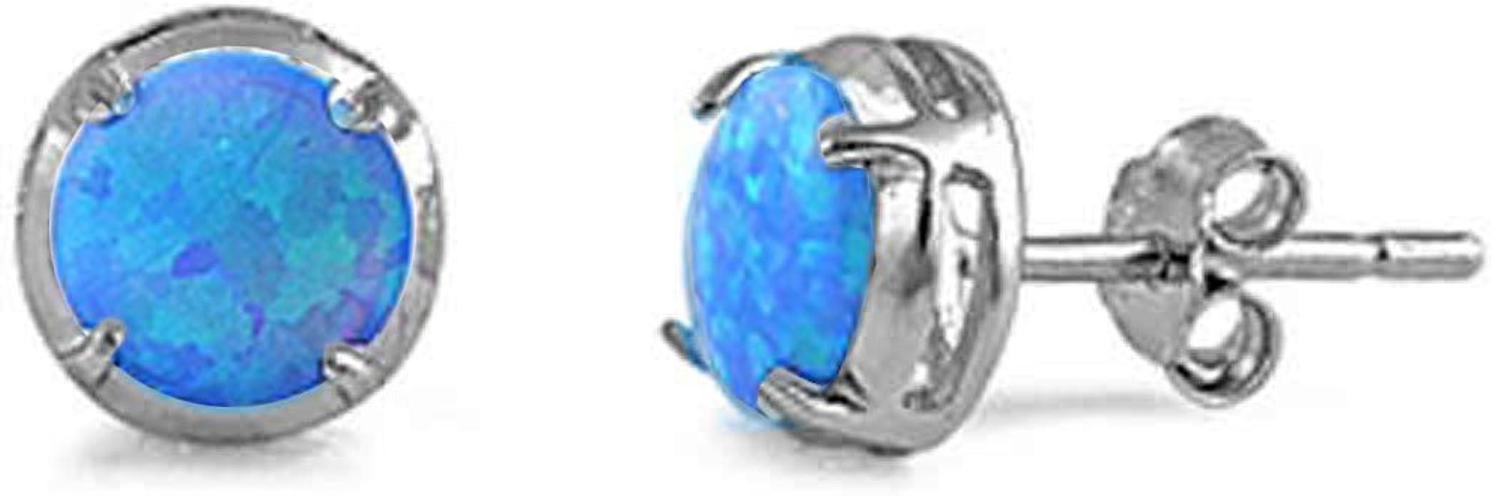#667 LAB BLUE FIRE OPAL ANTIQUE ART DECO DESIGN 925 STERLING SILVER EARRINGS