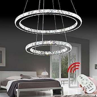VINGO® 50W 2 Ringe LED Deckenleuchte Kristall Dimmbar Deckenlampe Wohnraum  Hängeleuchte Pendelleuchte Mit Fernbedienung Wohnzimmer