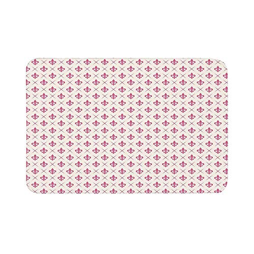 C COABALLA Fleur De Lis Durable Door Mat,Pink Colored Ancient Lily Flower Motifs with Checkered Pattern French Heraldry Decorative for Living Room,19.6