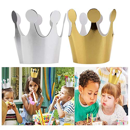 Price comparison product image Birthday Crown Hat,  Kids Adult Birthday Hats Cap Crown Prince Princess Party Decoration Paper (5pcs Silver + 5pcs Gold)