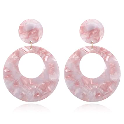 f1cdbcc79 Amazon.com: SOURBAN Resin Statement Drop Dangle Earrings Women Circle  Bohemian Hoop Earring for Wedding Party Office,Pink: Home & Kitchen
