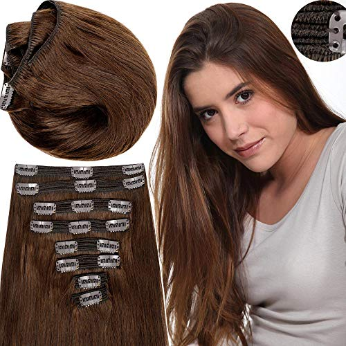 200g Real Triple Weft Extra Thick Clip in 100% Remy Human Hair Extensions Full Head (22 inch 200G 7.05Oz #4 Medium Brown) 8 Pcs Set Grade 10A Natural Hair Pieces Long Straight for Women ()
