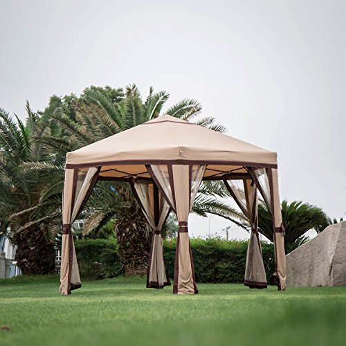 Gazebo Iron (Kinbor 11.8'x 10.2' Outdoor Patio Iron Hexagon Gazebo Canopy Garden Backyard Tent with 6 Mesh Side Walls)