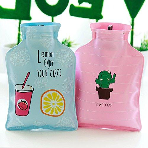 MSYOU Botella de agua caliente pequeña de dibujos animados bolsa de agua caliente calentadores de mano invierno gran regalo para mujeres niñas niños (azul ...
