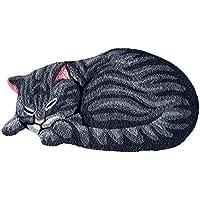 Ustide Grey Cute Sleeping Cat Shaped Bedroom Area Rug,Tabby Cat Carpet 33.5 by 18 Inch
