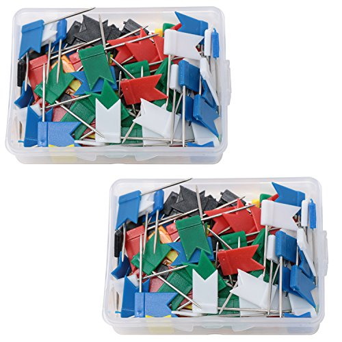 VAPKER 210 Pcs Map Marking Flat Flag Shaped Push Pins in 2 Box, Assorted 7 Colors