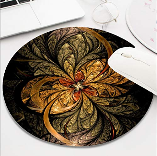 (Nxmouse Customization Round Gaming Computer Keyboard Mouse Pad Mouse Mat with Non-Slip Rubber Base(8 Inch) Shining Leaves Fractal Art Mousepad.)