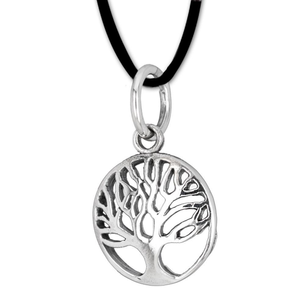 Kleiner Anhänger Baum des Lebens Keltischer Lebensbaum Schmuck – Heilung – mit Lederhalsband Weltenbaum aus 925er Silber 075 DarkDragon 66155483DDRSGJP075