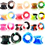 Partyfareast 22PCS Silicone Mixed Colors Tunnel Ear Stretchers Plug Gauge