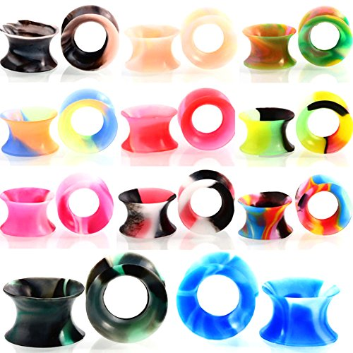 Partyfareast 22PCS Silicone Mixed Colors Tunnel Ear Stretchers Plug Gauge (Gauge: 1/2