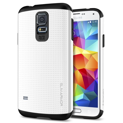 Galaxy S5 Case, Spigen®  [Slim Armor] AIR CUSHION [Shimmery White] DOTTED Design Slim Fit Dual Layer Protective Case for Galaxy S5 (2014) - Shimmery White (SGP10755)