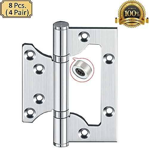 ALTBP 2-4 Pairs European Ball Bearing Door Gate Cabinet Hinges 4-8 Pack (4 Inch Non-Mortise Hinge 8 PCS, Silver)