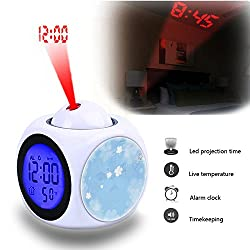 Projection Alarm Clock Wake Up Bedroom with Data and Temperature Display Talking Function, LED Wall/Ceiling Projection,Customize the pattern-079.Blue Background, Flowers, Vintage, Tapestry, Map