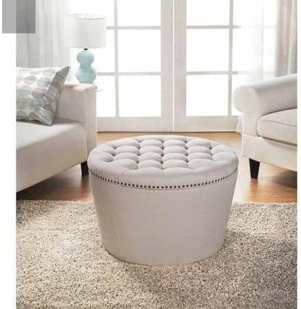 Stylish and Functional Better Homes and Gardens Round Tufted Storage Ottoman with Nailheadsa – Cream