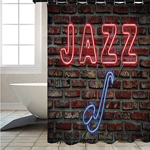 (RWNFA Fashion Shower Curtain,Image-of-Alluring-Neon-All-Jazz-Sign-with-Saxophone-Instrument-on-Brick-Wall-Print-Decorative,W72xL78.7inch,Lush Decor,Colorful Bold Design,Red-Blue)