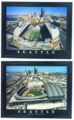 Framed Seattle Seahawks and Mariners - Safeco & CenturyLink Field Aerial Prints (Set of 2)