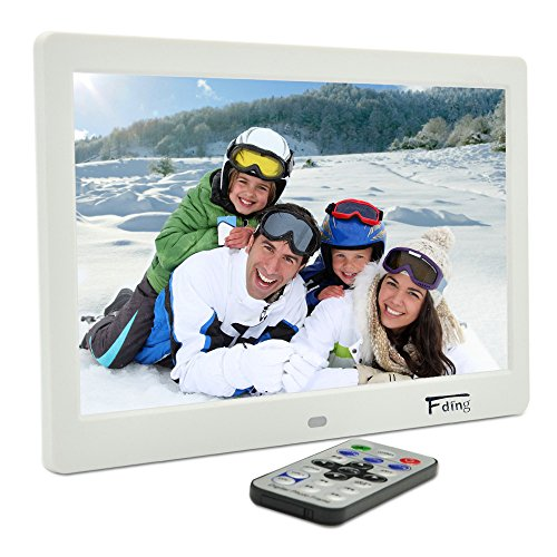 10.1 Inch Hi-Res TFT LED Digital Photo Frame & HD Video(1080P/720p)&Music Playback with 8GB Memory Card -White by Fding