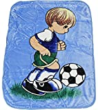 Super Soft Baby Blankets for Boy and Girl, 55'' x43'', A Variety of Characters Design (Light Blue_Boy and Soccer Ball)