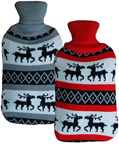 2x große Wärmeflasche im Weihnachtsdesign | hochwertige Strick Wärmekissen hohes Füllvermögen | Bettflasche flauschiger Bezug für Winter oder Geschenk zu Weihnachten für Erwachsene oder Kinder