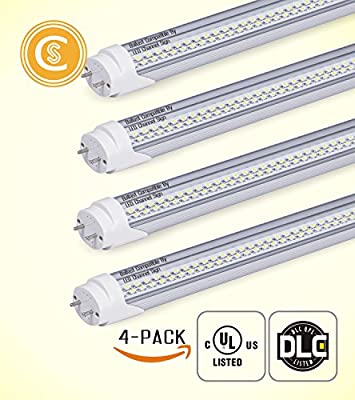 Pack of 4 | 4 ft LED Tube Lights 18W (60W Equivalent) 2100LM 5000K Clear Dual Ended T8 | Works with and without T8 ballast | Eco-Friendly | Fluorescent Replacement Lighting Fixtures