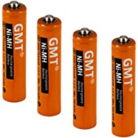 GMT Panasonic Cordless Phone Batteries NI-MH Rechargeable AAA 750mah Extra Power (4 pack) Fast Recharge Lasts Longer | Replacement Battery for Panasonic Phones Models With HHR-4DP HHR-55AAABU KX-TG103