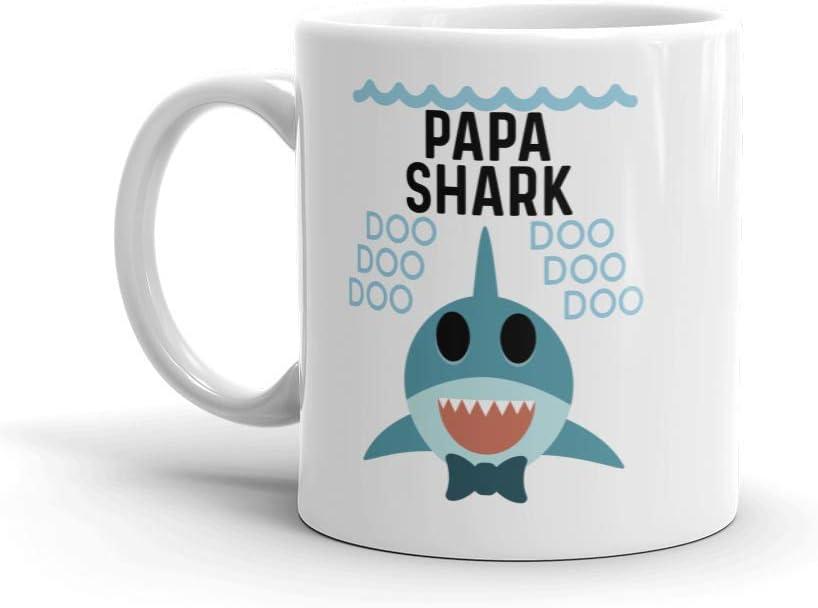 """Shark Papa"" Ceramic Coffee Mug/Cup (11 oz.) — Birthday Father's Day Christmas For Dad Father Grandpa"