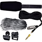 Interview Microphone HD Shotgun Recording Professional Condenser Microphone Stereo Video Camero Mic Recorder with Fur Wind Shield for Canon Nikon Pentax Olympus Panasonic Digital SLR Camera etc