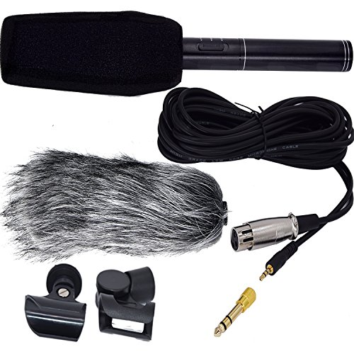 Interview Microphone HD Shotgun Recording Professional Condenser Microphone Stereo Video Camero Mic Recorder with Fur Wind Shield for Canon Nikon Pentax Olympus Panasonic Digital SLR Camera etc by FEENM
