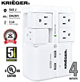 KRIËGER® UL 1449 - 4-Rotating Outlet Wall Mount - Advanced Fireproof Surge protector with X3 MOV Technology - 2.4A Dual USB Charging ports, fast charge your iphone android and tablets.