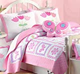 Cozy Line Home Fashions Butterfly Tulip Quilt Bedding Set, Orchid Green Pink Flower Print Pattern Bedspread, Coverlet, 100 % Cotton, Gifts for Girl Kids (Twin - 2 pc: 1 quilt + 1 sham)