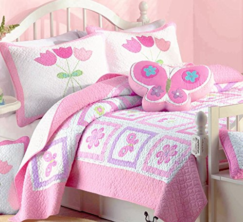 Cozy Line Home Fashions Butterfly Tulip Quilt Bedding Set, Orchid Green Pink Flower Print Pattern Bedspread, Coverlet, 100 % Cotton, Gifts for Girl Kids (Twin - 2 pc: 1 quilt (Butterfly Quilt)