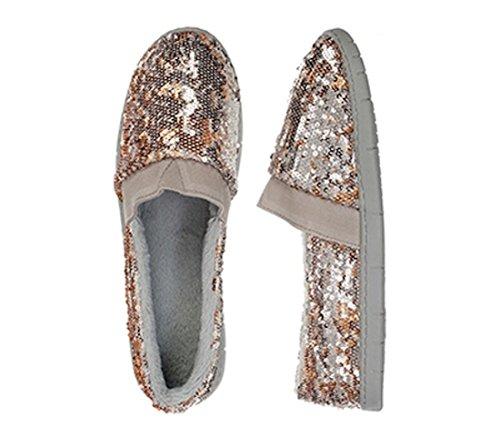 Dearfoam Two-Color Gold Sequin A-line Casual Shoe Slipper - Large 9-10